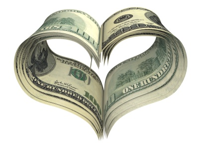 valentine heart shape made by dollars isolated